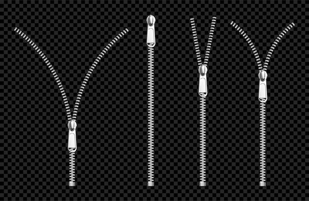 Metalen ritssluitingen zilveren ritsen met trekkerset