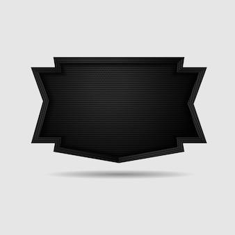 Metalen schild met donkere zwarte geometrische raster koolstofvezel textuur
