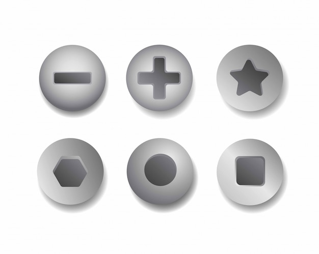 Metalen schroefgroep icon set realistische roestvrijstalen schroefkop