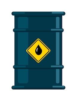 Metalen stalen vat met olie of vloeistof op witte achtergrond
