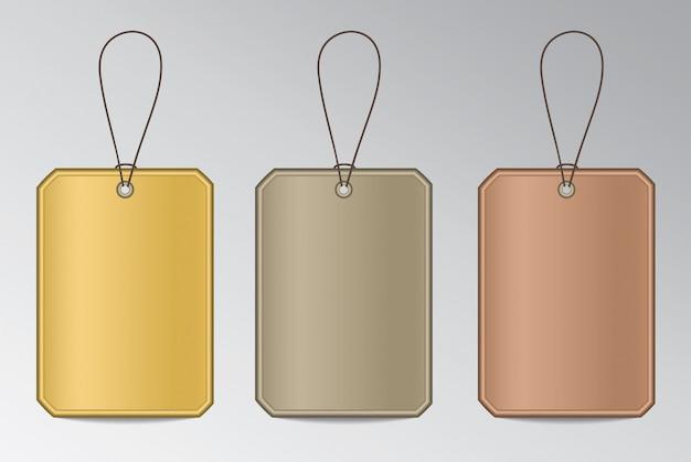 Metalen tags met string