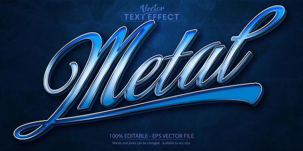Metalen tekst, bewerkbaar teksteffect in zilveren stijl op donkerblauwe gestructureerde achtergrond