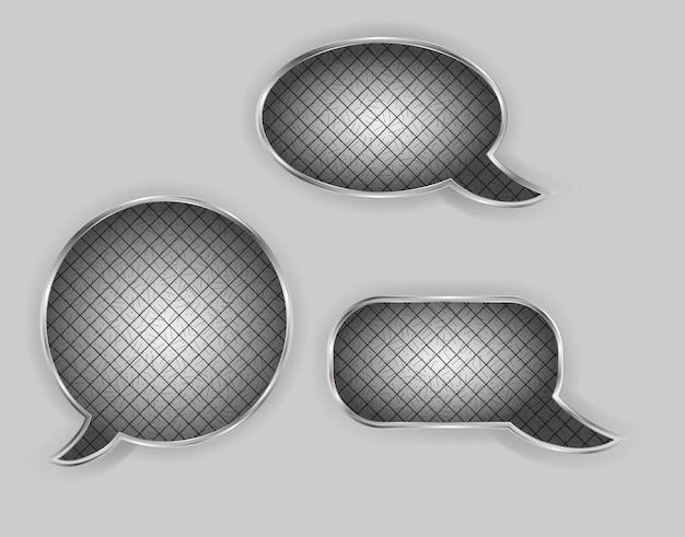 Metalen tekstballonnen vectorillustratie