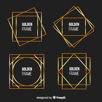 Metalen textuur gouden frame set