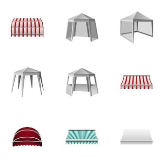 Metalen tuinhuisje iconen set, isometrische stijl