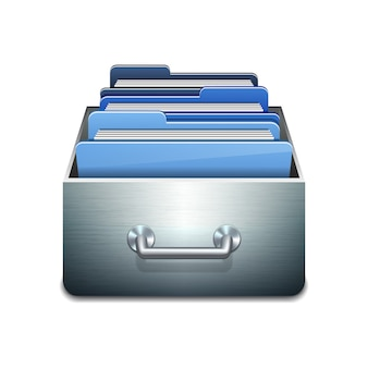 Metalen vulkast met blauwe mappen. geïllustreerd concept van het organiseren en onderhouden van databases. op witte achtergrond