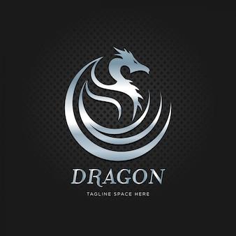 Metalen zilveren drakenlogo
