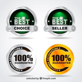 Metallic garantie badges