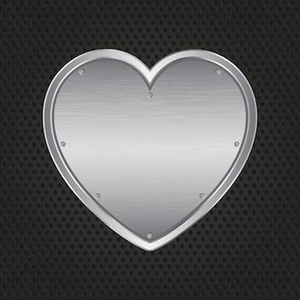 Metallic hart op een geperforeerde metalen achtergrond