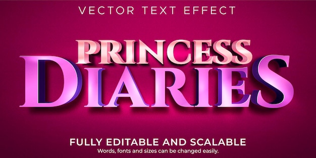 Metallic prinses-teksteffect, bewerkbare glanzende en schattige tekststijl