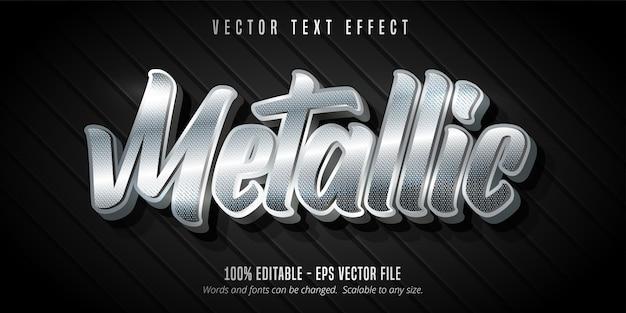 Metallic tekst, bewerkbaar teksteffect in zilveren stijl