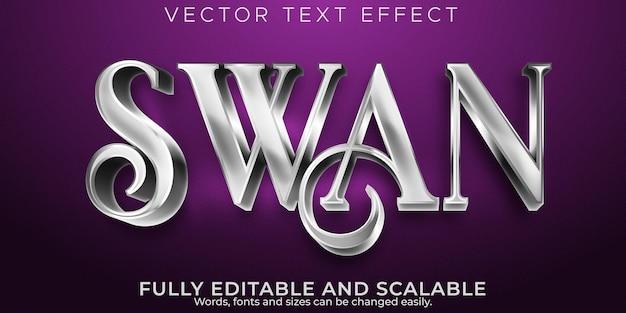 Metallic zwaan-teksteffect, bewerkbare glanzende en elegante tekststijl