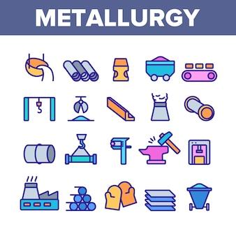 Metallurgie elementen icons set