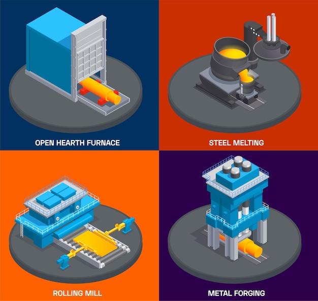 Metallurgie gieterij-industrie isometrisch ontwerpconcept met fabrieksovenwalserij en andere faciliteiten