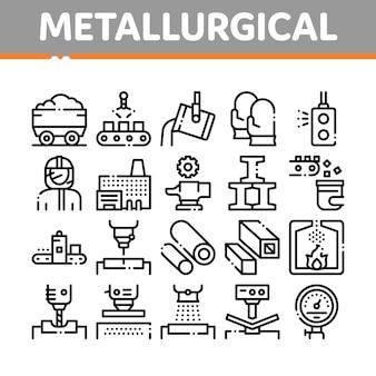 Metallurgische collectie elementen icons set