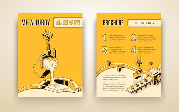 Metallurgische industrie bedrijf, gieterij vervaardiging isometrische vector reclamefolder