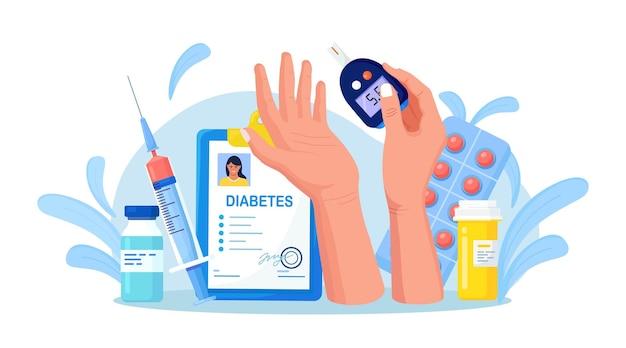 Meten van suiker in bloed met glucometer. bloed testen op glucose voor hypoglykemie of diabetesdiagnose. patiënt met testapparatuur, spuit en flacon, insuline, pillen. wereld diabetes bewustzijn dag