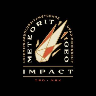 Meteoor impact geometrische badge t-shirt tee merch logo vector pictogram illustratie