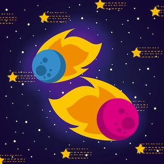 Meteoriet zonnestelsel plat