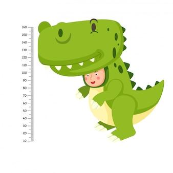 Metermuur met dinosauruskostuum