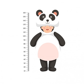 Metermuur met pandakostuum