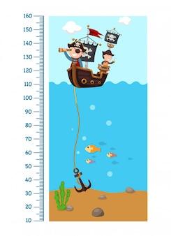 Metermuur met piraatschip