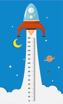 Metermuur met rocket.illustration