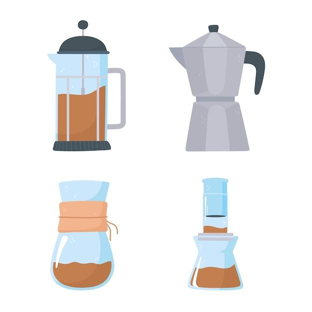 Methoden voor het brouwen van koffie, franse pers, mokapot, chemex iconen set