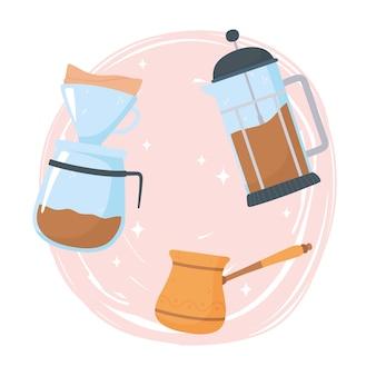 Methoden voor het zetten van koffie, alternatief van een andere manier, franse pers turks en druppelillustratie