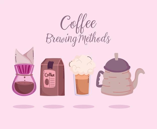 Methoden voor het zetten van koffie, een waterkoker voor het lekvrij maken van producten en frappe
