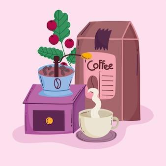 Methoden voor het zetten van koffie, handmatig molenpakket en warme drank in beker