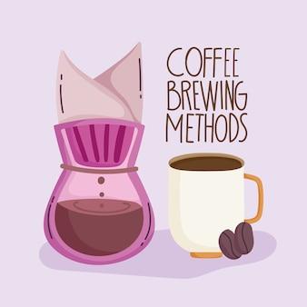Methoden voor het zetten van koffie, kopje koffiezetter en droge zaden