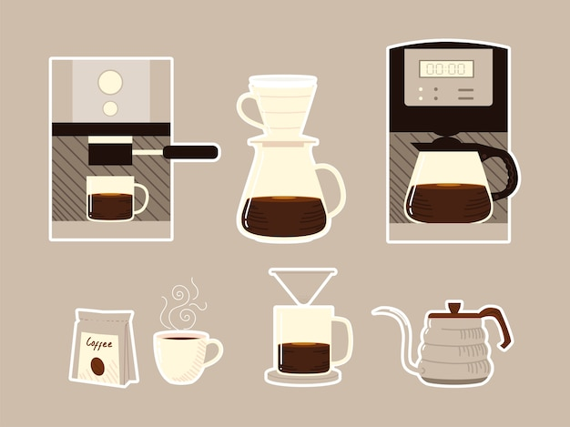 Methoden voor het zetten van koffie, machine-apparaten, ketelbekers en pack-pictogrammen