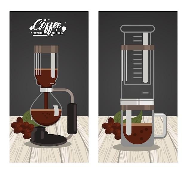 Methoden voor het zetten van koffie met aeropers en vacuümpotten