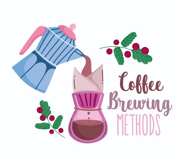 Methoden voor het zetten van koffie, mokapot die vloeibaar koffiezetapparaat giet