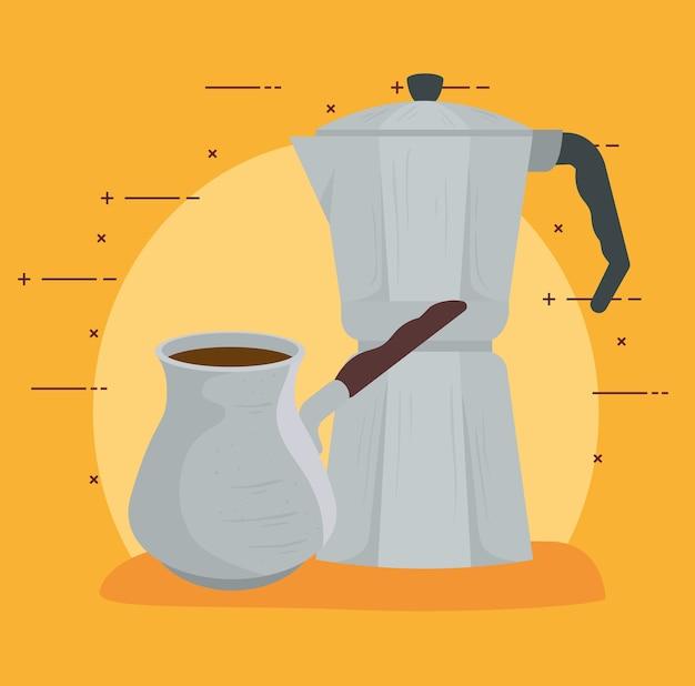 Methoden voor het zetten van koffie, mokapot met turks koffieontwerp
