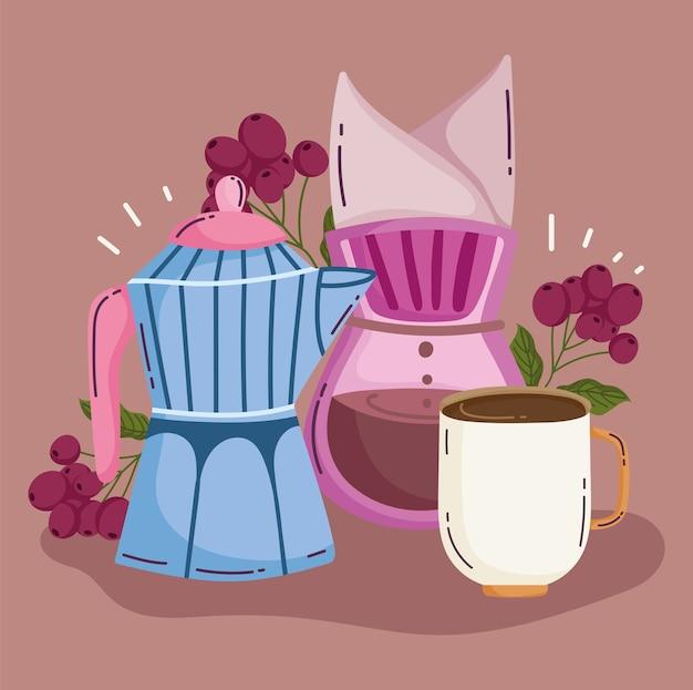 Methoden voor het zetten van koffie, mokka-koffiezetapparaat en kopje