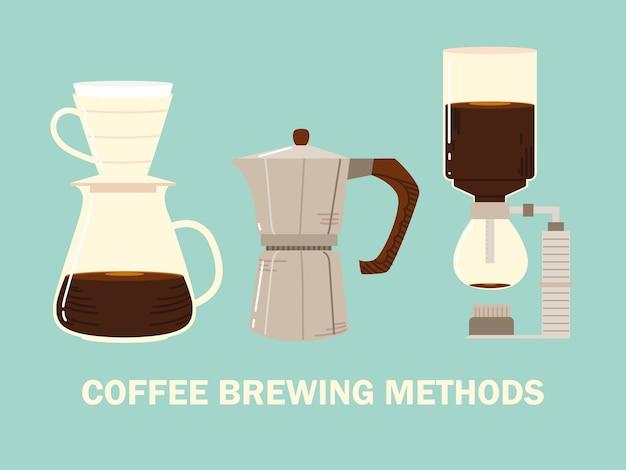 Methoden voor het zetten van koffie, sifon-mokapot en druppelkoffie