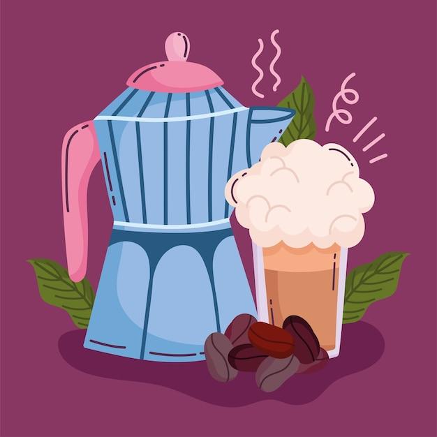 Methoden voor het zetten van koffie, smoothie met mokka en granen