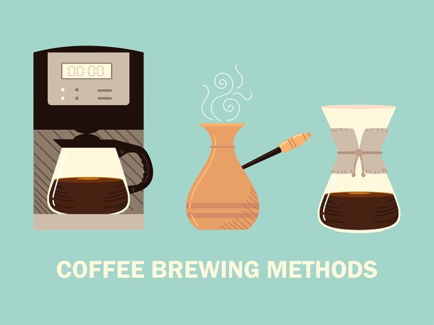 Methoden voor het zetten van koffie, turkse cezve-infuus en digitale machinekoffie