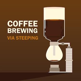 Methoden voor het zetten van koffie, warme drank van de maker, donkere achtergrond