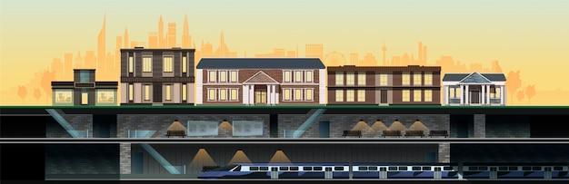 Metro en nieuwe moderne stad