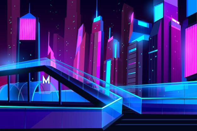 Metro ingang in nachtstad met neonverlichting