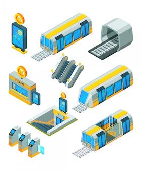 Metro metro elementen. ingangs elektrische poorten en tekens treintunnel met isometrische 3d beelden van de roltrap de moderne metro
