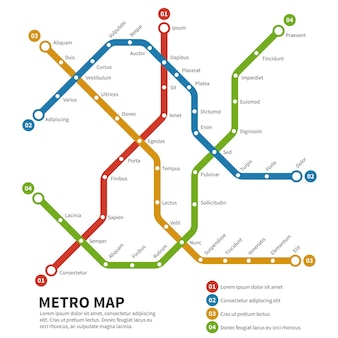 Metro, metro vector kaart. sjabloon van stadsvervoerregeling. regeling kaart ondergronds, metro metro weg, vervoer spoorweg metro illustratie