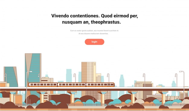Metro over moderne stad panorama hoge wolkenkrabbers stadsgezicht