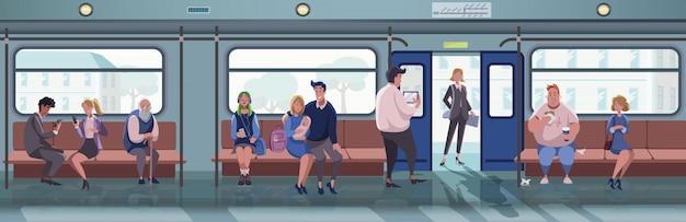 Metro, stadsleven, transport set concept