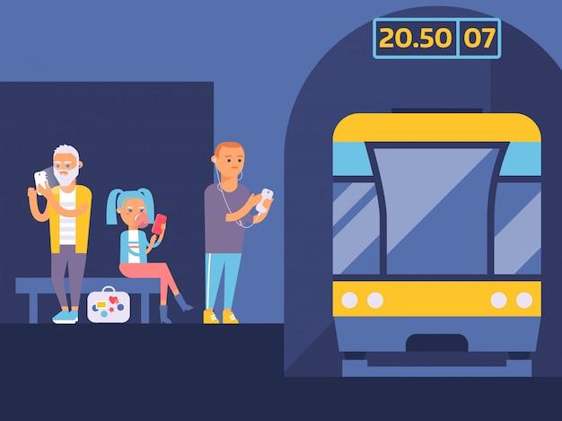 Metro station illustratie. verschillende mensen wachten op trein met gadgets. jongen die aan muziek in zijn mobiele telefoon luistert.
