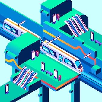 Metro stationillustratie van plan van ondergronds of metropoststation