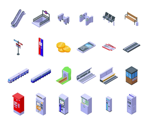 Metro ticket machine pictogrammen instellen isometrische vector. verkoop geldautomaat. bankpas